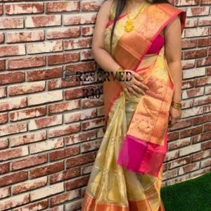 handloom kora with zari weaving all over blouse