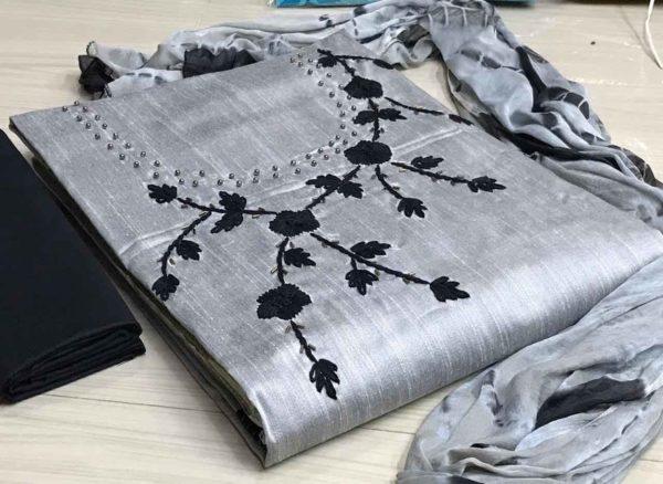 top cotton silk with handwork bottom black